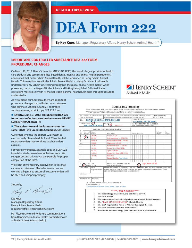 DEA Form 222 REGULATORY REVIEW R IMPORTANT CONTROLLED SUBSTANCE ...