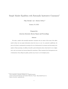Simple Market Equilibria with Rationally Inattentive Consumers † Filip Matˇ ejka