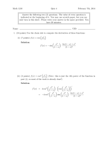 Math 1210 Quiz 4 February 7th, 2014