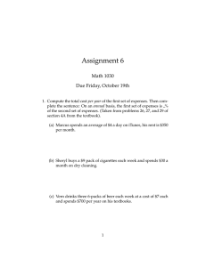 Assignment 6 Math 1030 Due Friday, October 19th