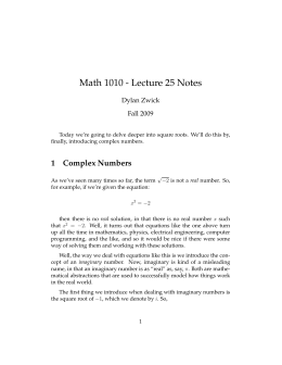 Math 1010 - Lecture 25 Notes Dylan Zwick Fall 2009