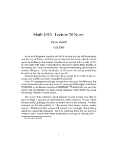 Math 1010 - Lecture 28 Notes Dylan Zwick Fall 2009
