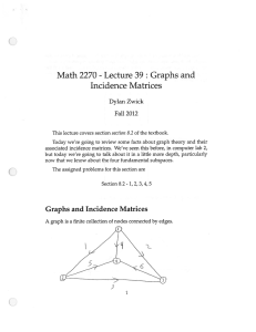 Lecture 39: Graphs and Math 2270 Incidence Matrices Dylan Zwick