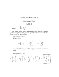 (ey Math 2270 Exam 1