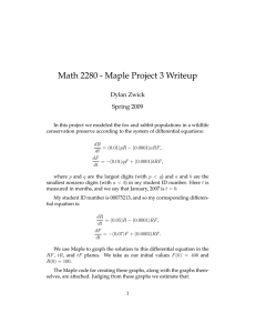 Math 2280 - Maple Project 3 Writeup Dylan Zwick Spring 2009