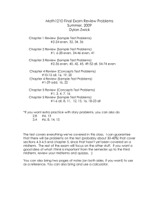 Math1210 Final Exam Review Problems Summer, 2009 Dylan Zwick