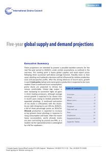 Five-year global supply and demand projections  International Grains Council