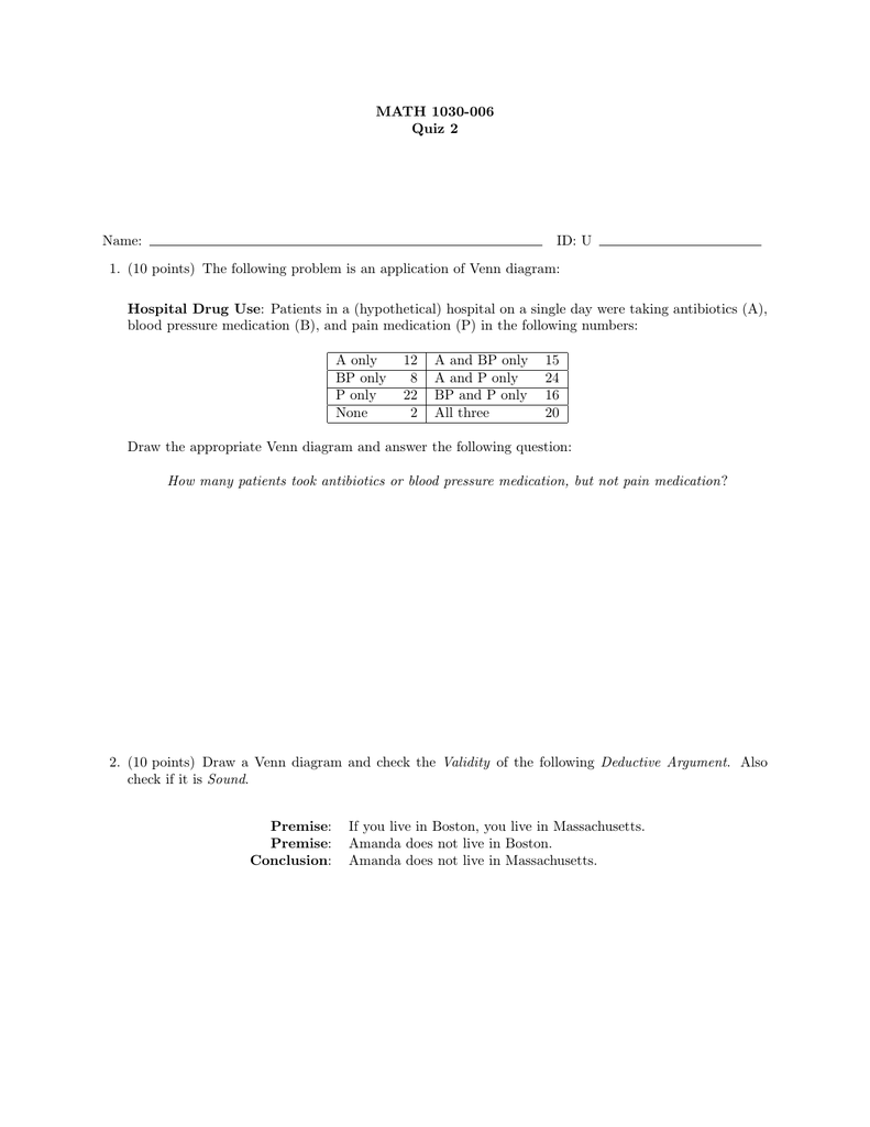 MATH 1030-006 Quiz 2 Name: ID: U