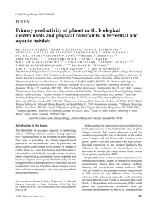 Primary productivity of planet earth: biological