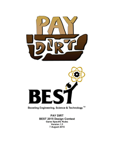 PAY DIRT BEST 2015 Design Contest Game Specific Rules