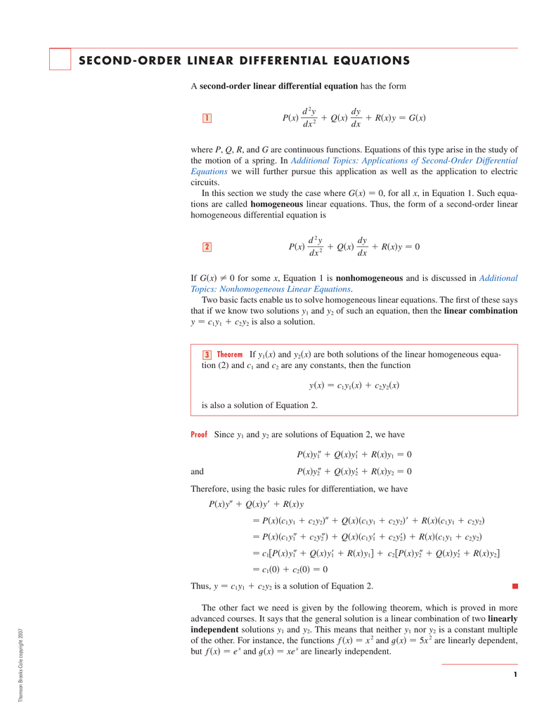 Second Order Linear Differential Equations (a) y = −0,05x2 + 2x (b) y = −0,05x2 + 6x find the value of b for which y = −0,05x2 + bx will. second order linear differential equations