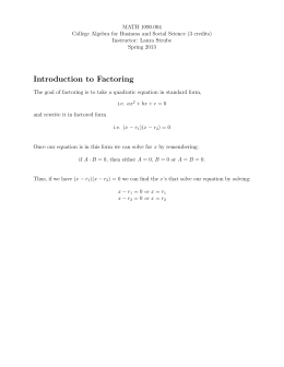 MATH 1090.004 College Algebra for Business and Social Science (3 credits)