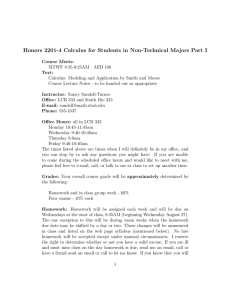 Honors 2201-4 Calculus for Students in Non-Technical Majors Part I