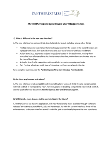 The PantherExpress System New User Interface FAQs.