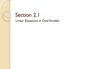 Section 2.1 Linear Equations in One Variable