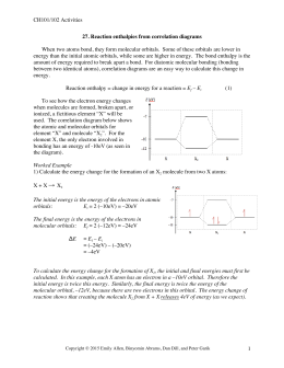 CH101/102 Activities  27. Reaction enthalpies from correlation diagrams