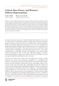 Critical Mass Theory and Women's Political Representation Sarah Childs Mona Lena Krook