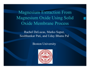 Magnesium Extraction From Magnesium Oxide Using Solid Oxide Membrane Process