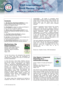 CSR International Book Review Digest MARCH 2011 (volume 3, number 3)