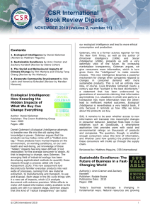 CSR International Book Review Digest NOVEMBER 2010 (volume 2, number 11) Contents