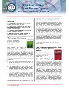 CSR International Book Review Digest OCTOBER 2010 (volume 2, number 10) Contents