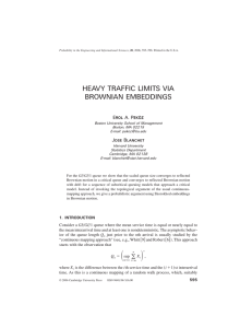 HEAVY TRAFFIC LIMITS VIA BROWNIAN EMBEDDINGS E A. P