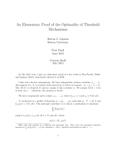 An Elementary Proof of the Optimality of Threshold Mechanisms Barton L. Lipman