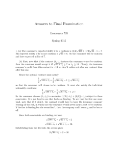 Answers to Final Examination Economics 703 Spring 2015