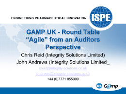 "GAMP UK - Round Table ""Agile"" from an Auditors Perspective"