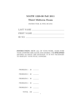 MATH 1220-90 Fall 2011 Third Midterm Exam LAST NAME FIRST NAME