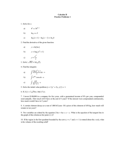 Calculus II Practice Problems 1 x a)