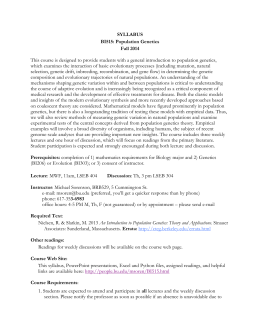SYLLABUS BI515: Population Genetics Fall 2014