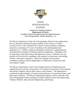 The Physics Department of the Naval Postgraduate School invites applications