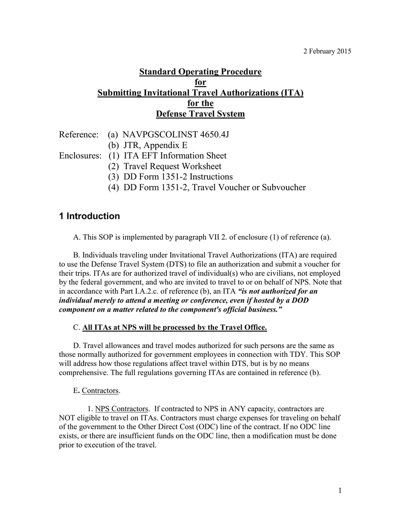 Standard Operating Procedure for Submitting Invitational Travel – Dts Travel Worksheet