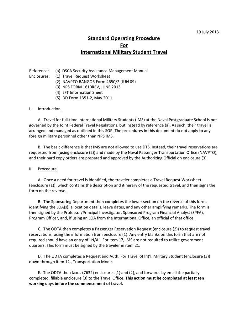 Standard Operating Procedure For International Military Student Travel – Dts Travel Worksheet