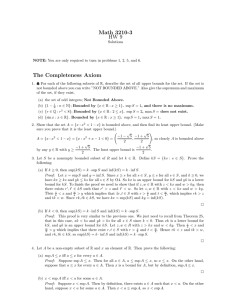 Math 3210-3 HW 9 The Completeness Axiom