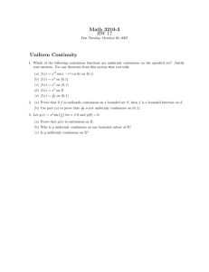Math 3210-3 HW 17 Uniform Continuity
