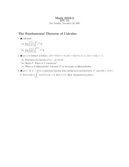 Math 3210-3 HW 23 The Fundamental Theorem of Calculus