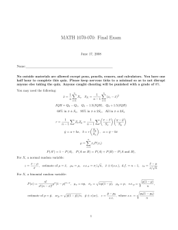 MATH 1070-070: Final Exam June 17, 2008