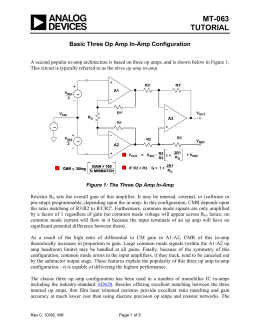 MT-063 TUTORIAL  Basic Three Op Amp In-Amp Configuration