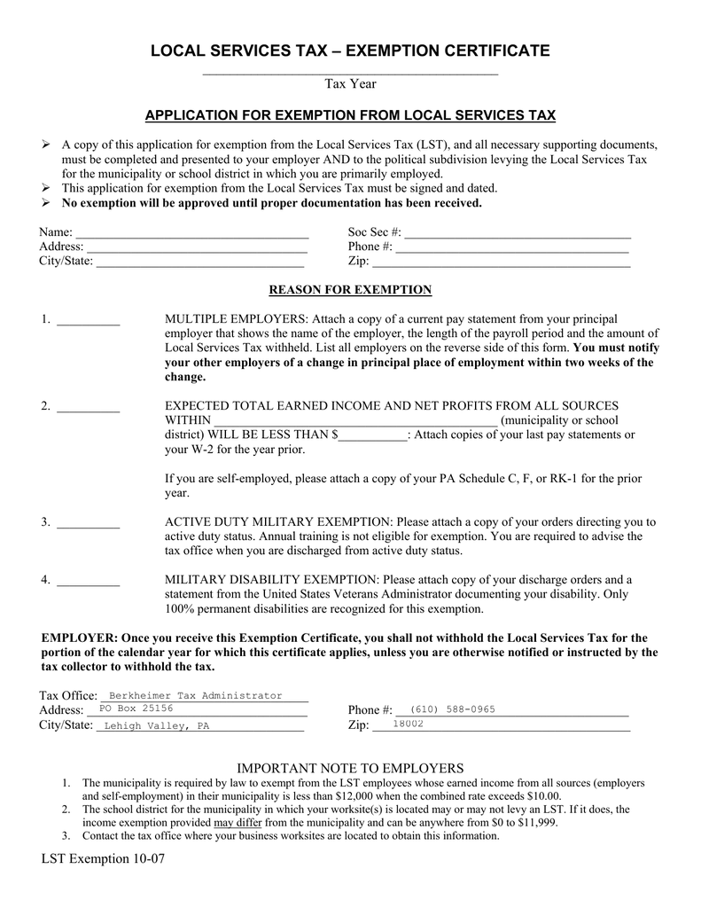 Local Services Tax Exemption Certificate Tax Year