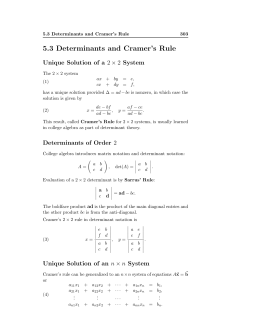 5.3 Determinants and Cramer's Rule