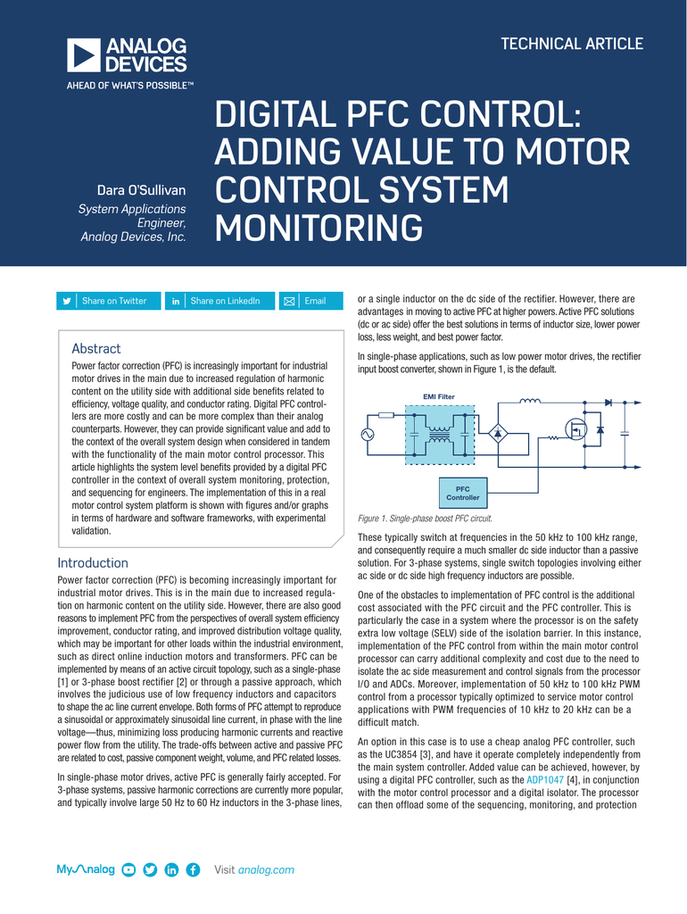 Digital Pfc Control Adding Value To Motor System Monitoring Analog Monitor And Controller