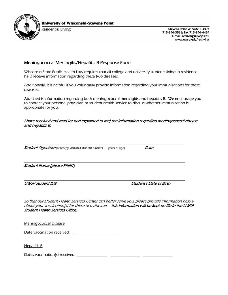 Meningococcal Meningitis/Hepatitis B Response Form