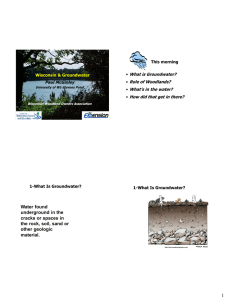 Wisconsin & Groundwater This morning What is Groundwater?