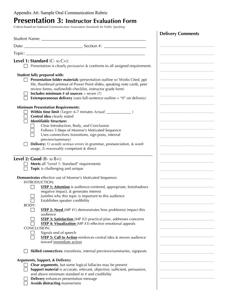 Presentation 3: Instructor Evaluation Form Appendix A6: Sample Oral
