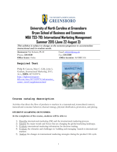 University of North Carolina at Greensboro MBA 733-71D: International Marketing Management
