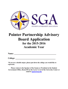 Pointer Partnership Advisory Board Application for the 2015-2016 Academic Year