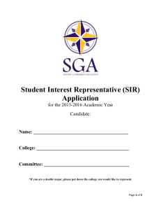 Student Interest Representative (SIR) Application