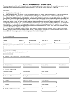 Facility Services Project Request Form